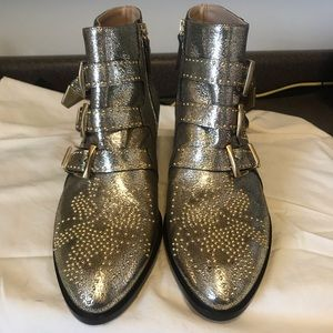 Chloe Susanna Boot Rare Gold Metallic Leather New